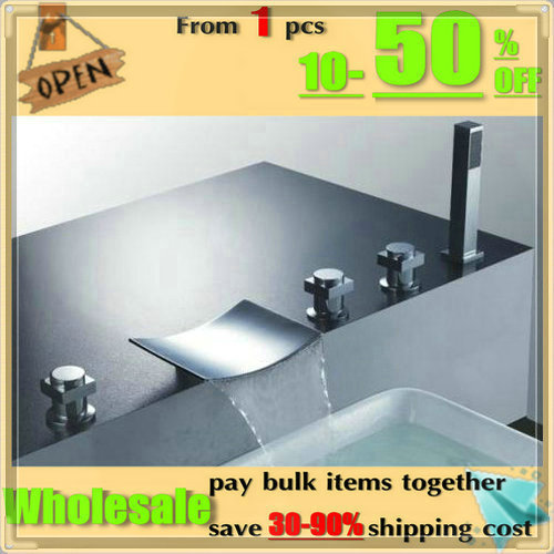 Waterfall wide spout on deck 5pcs shower bathroom bathtub faucet set hot/cold mixer taps wash tub(China (Mainland))