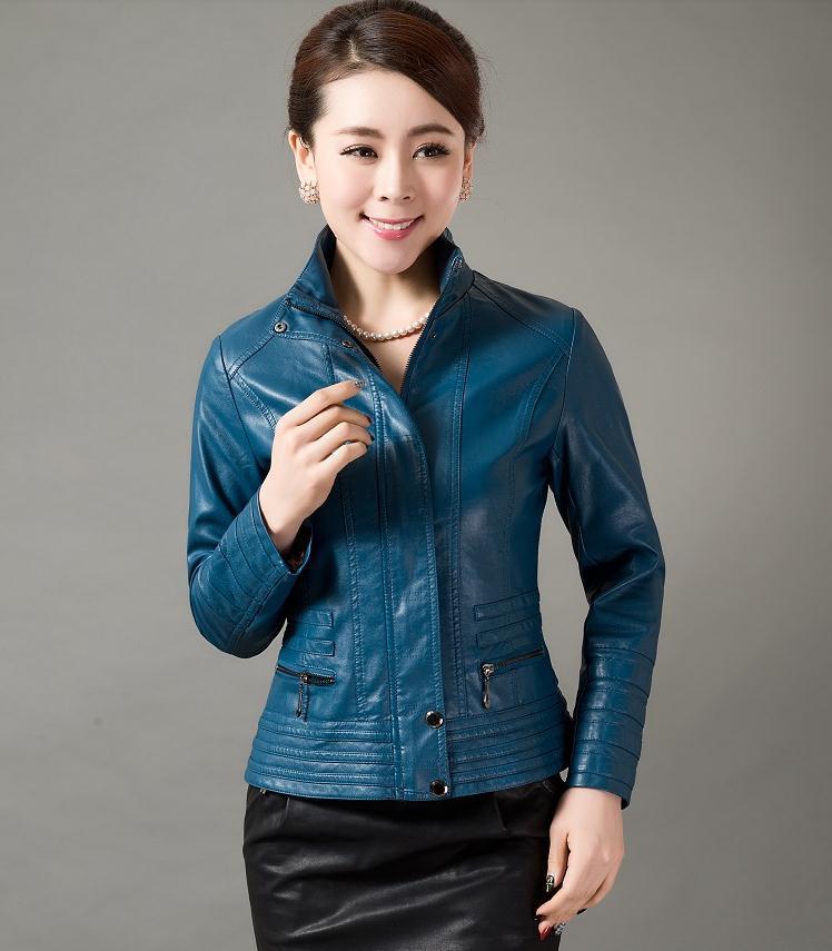 Plus size 2015 Spring leather clothing hot-selling Women outerwear motorcycle PU slim fashion leather jacket women M297(China (Mainland))