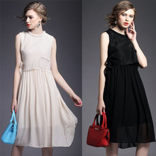 Fashion Dress Women's 2015 Summer Dress Faux two piece Solid color slim Waist lacing expansion Bottom chiffon Black Dresses