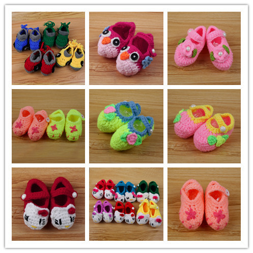 Baby Infant Girls Casual Crochet Knit Socks Crib Shoes Prewalkers 0-12M NEW SM67(China (Mainland))