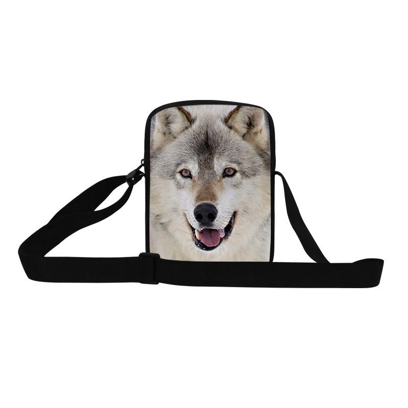 Brand New Designer Mens Messenger Bags Cool Wolf 3D Printing Shoulder Bag Boys Cross Body Bag Animal Messenger-Bag For Teenagers(China (Mainland))
