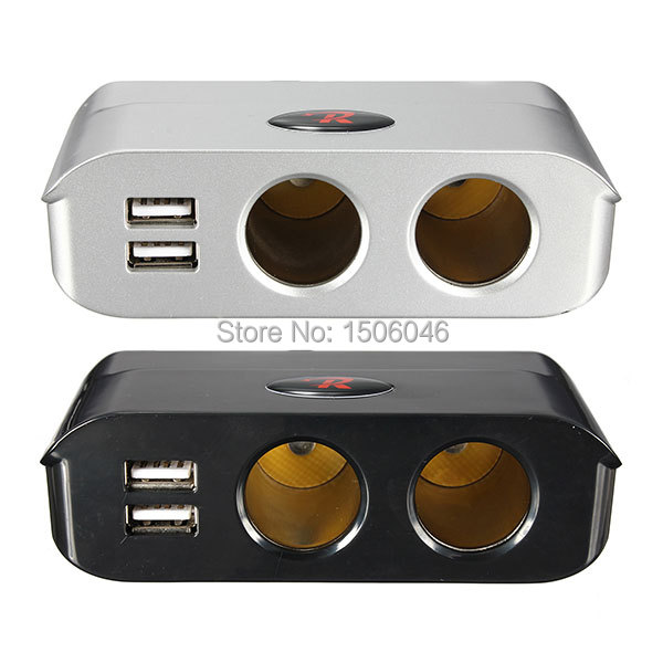 High Quality 180W 12V/24V Silver Black 2 Way Cigarette Lighter Socket Splitter + Dual USB Port Car Adapter Free Shipping(China (Mainland))