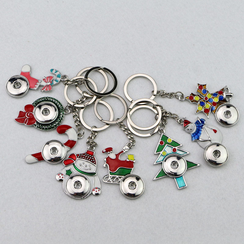 4 Mix 10styles Nice enamel Christmas Key chains keyring 18mm Metal ginger snap button charm pendant key rings  -  forever love shop store