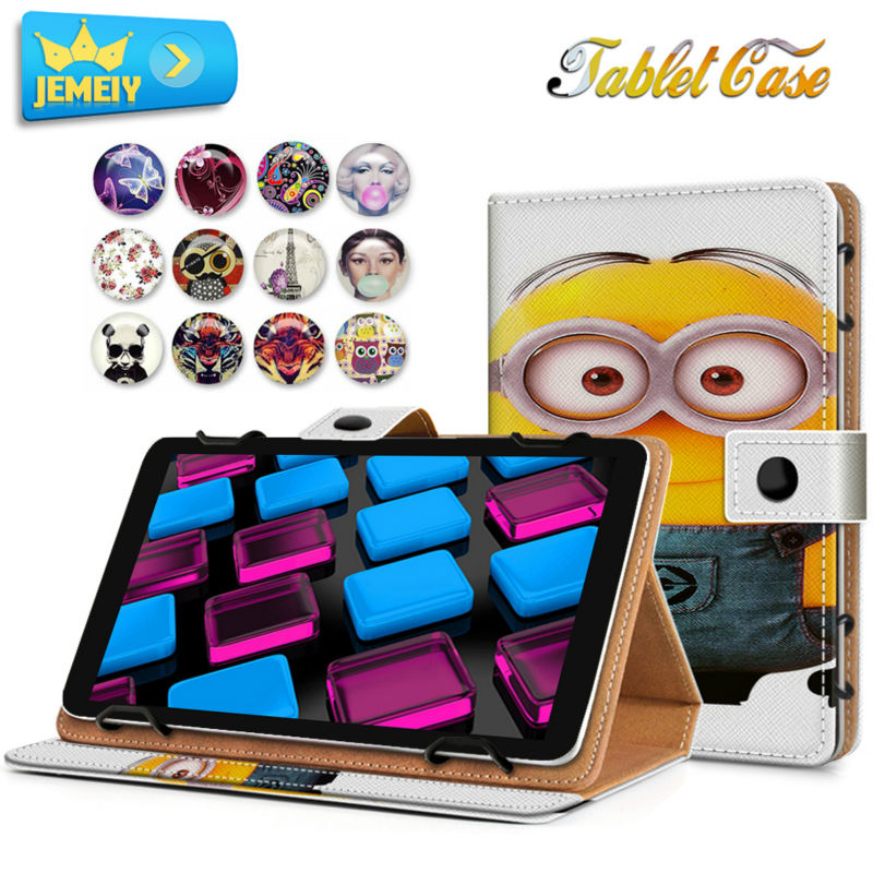 7'' Universal Tablet Case For Hp slate 6 /Hp Compaq 7J /Goowee t900 Tablet Cover,Minions Printed Stand Leather case For Hp(China (Mainland))