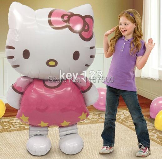 Бесплатная доставка 116 * 68 см большой мультфильм привет котенок кошка день рождения свадьба ну вечеринку украшения фольги и гелием воздушные шары ...
