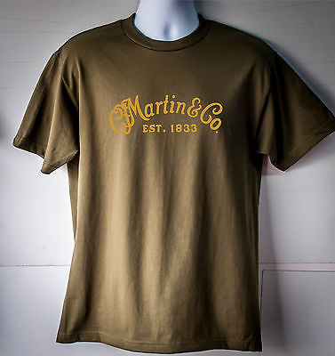 Martin & Company Guitar Logo T-Shirt Olive Green Free Shipping(China (Mainland))