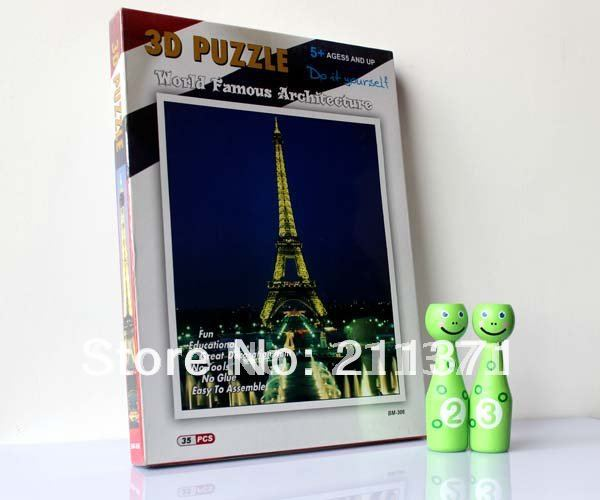 Puzz 3D DIMENSIONAL Puzzle WREBBIT Effile Tower 35 Pcs extra chanllenging jigsaw building nice DIY TOY 80 pcs(China (Mainland))