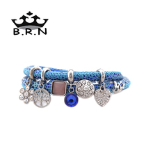Top Fashion Shining Blue Genuine Leather Endless Bracelet Double Layers Bracelet with 7Pcs Silver Crystal Story Charms 1Set(China (Mainland))