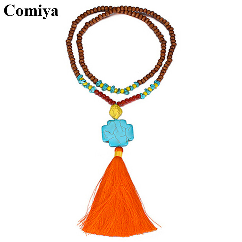 Tophus ethnic wood beads bijoux fashion jewelry exaggerated choker necklace colar for girls women necklaces tassels bijoux(China (Mainland))