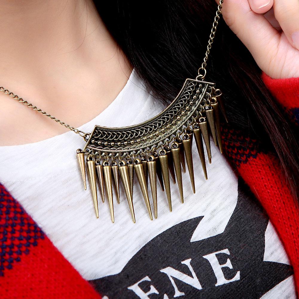 Brand Punk Bronze Spikes Statement Necklace Women Vintage Necklaces & Pendants Fashion Boho Turkish Jewelry Wholesale(China (Mainland))