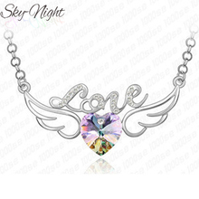New Arrivals fashion Wings letters LOVE Heart necklace for woman wedding jewelry grade crystal pendant