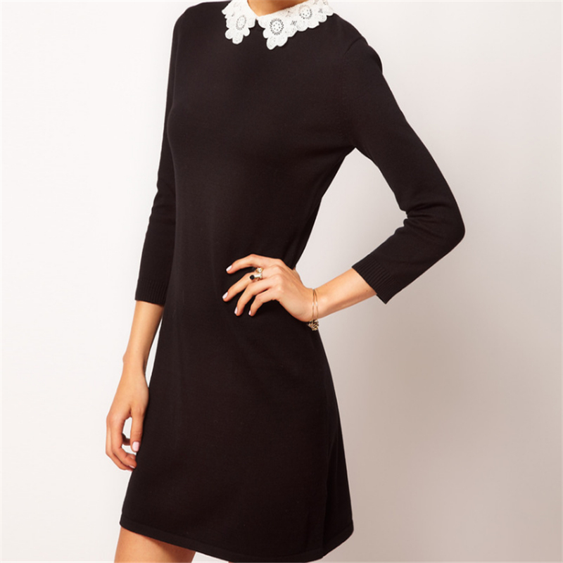 2016 Spring Women Brand Carved Flowers Lace White Collar Knit Cotton Black Dress Slim Vintage Party Evening Hot Sales C576(China (Mainland))