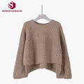 SinoFashion Loose Knitted Sweater 2016 New autumn and winter in front fork horn sleeve loose hollow