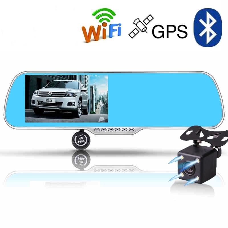 New 5.0 inch Android Car DVR Mirror Bluetooth Rearview Mirror GPS Navigator Car Camera Video Recorder Full HD 1080P Night Vision(China (Mainland))