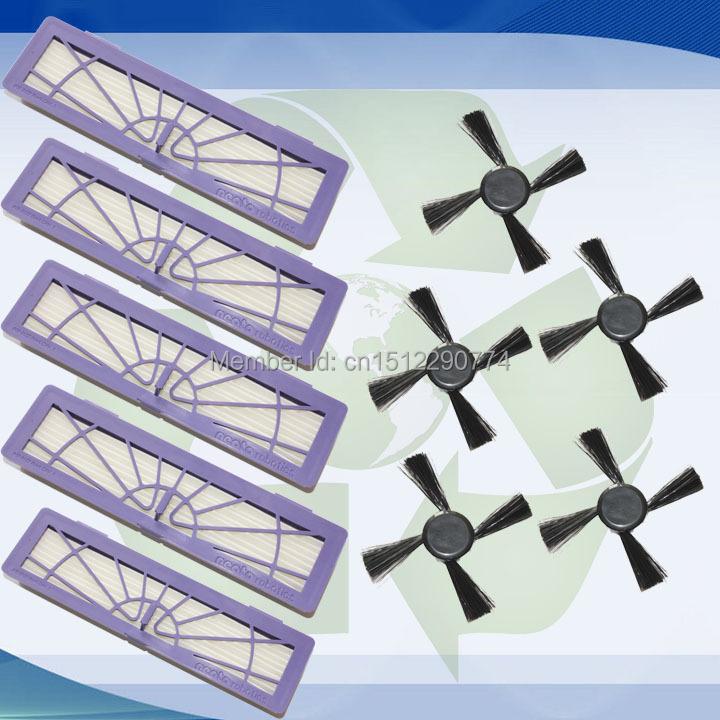 5 HEPA Filter & Side Brush for Neato Botvac 70e 75 80 85 Robotic Cleaner(China (Mainland))