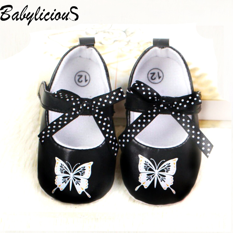 Cute Baby Leather Shoes Dot Bow With Butterfly Promotion Sales Handmade Gift Nonslip Retail(China (Mainland))