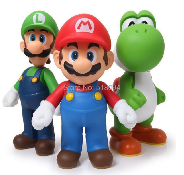 Free Shipping Super Mario Bros Mario Yoshi Luigi PVC Action Figure Collection Model Toys Dolls 3pcs/set SMFG225(China (Mainland))