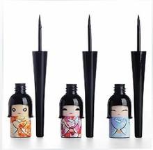 (Min. Mix Order) Cosmetic Waterproof Liquid Eyeliner Pen Makeup in Cute Dool Bottle Women Beauty Care Eye Liner