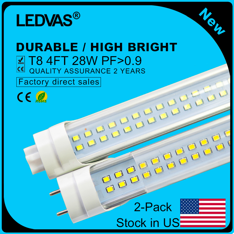 Stock in US 2-Pack LEDVAS 28W T8 LED Tubes SMD 2835 288led Light Lamp Bulb 4feet 1.2m 4Ft AC85-265V Led Lighting(China (Mainland))