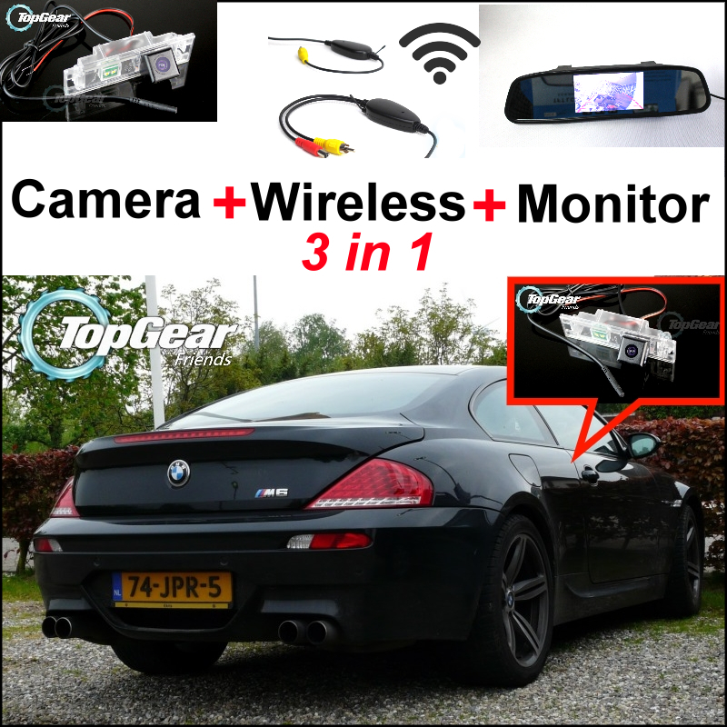 3in1 Special WiFi Camera + Wireless Receiver + Mirror Monitor Easy DIY Parking Rear View System For BMW 6 Series M6 E63 E64(China (Mainland))