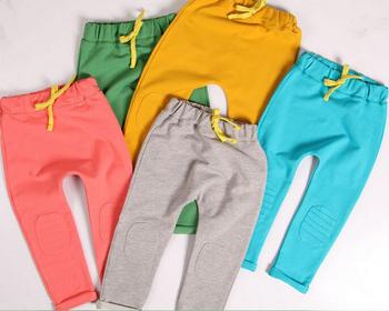 Малыш брюки новый 2014 марка полная длина мальчиков брюки твердые конфеты цвета шаровары дети терри эластичный пояс дети брюки