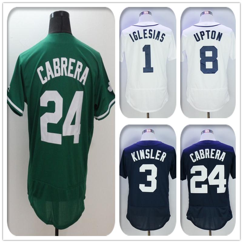 New Fabric Mens Flexbase Version #8 Justin Upton #24 Miguel Cabrera Jersey Color Gray Navy White Green Jerseys(China (Mainland))