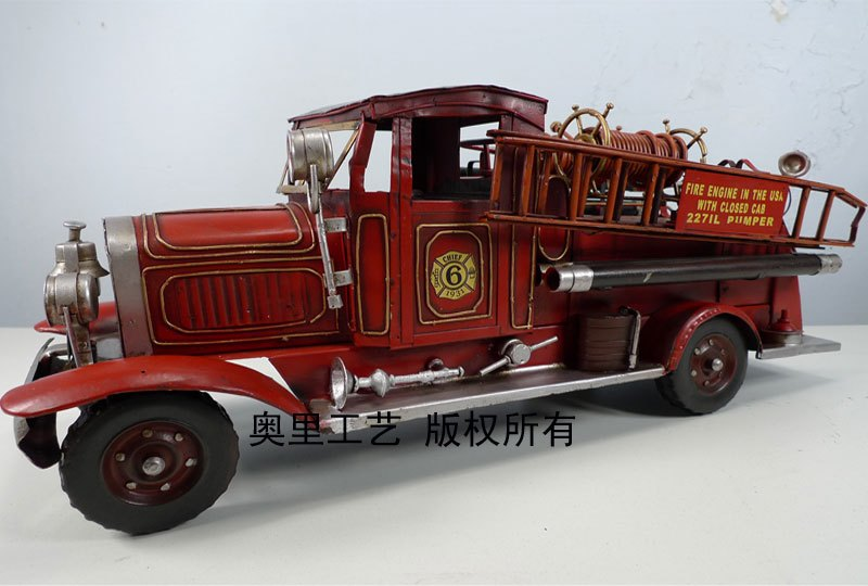 D bar decoration props bar decoration model vintage fire truck 1255 lengthen 42 #free shipping(China (Mainland))