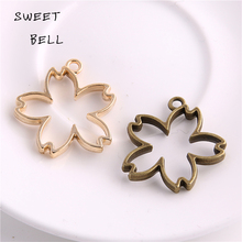 Buy Sweet Bell 20 pieces 30*32mm Two color Alloy Hollow flowers Charm Pendant Jewelry Making Pendant DIY Handmade Craft D6086-1 for $4.52 in AliExpress store