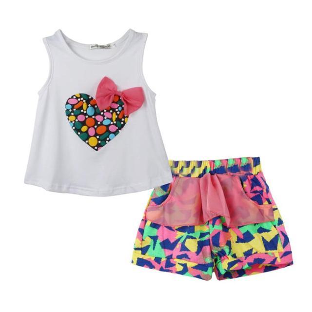 Новорожденных девочек одежда набор 2016 Девушка Красочный Форме Сердца Лук жилет ...