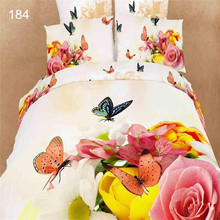 3D King Size Butterfly Bedding 100% Cotton Comforter Set Vivid Top Grade Quality Purple Butterfly Bedding Set and More(China (Mainland))