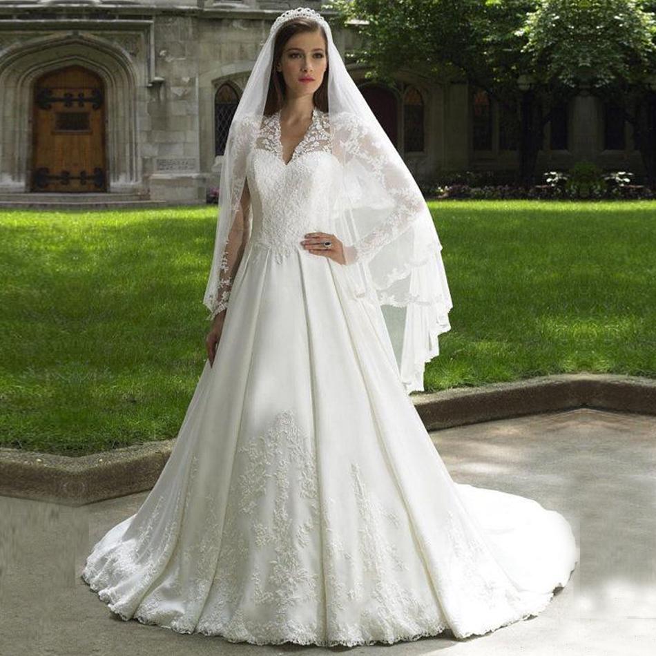 Modest v neck sheer long sleeve bridal gowns lace see for V neck long sleeve wedding dress