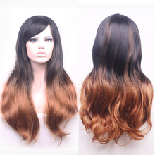 68cm Fashion Sexy Long Curly Wavy Cosplay Tilted Frisette Women Wigs Hair Wig Girl Gift Black Brown Ombre(China (Mainland))