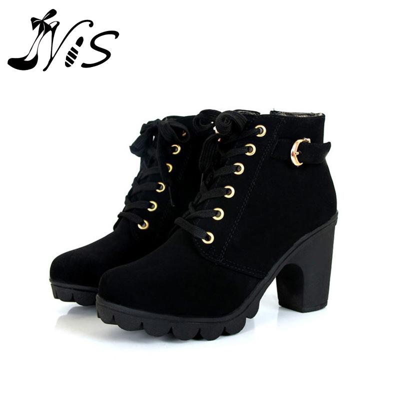 Гаджет  Women Boot 2015 Autumn Winter Velvet Short Ankle Snow Botas Thick Heels Wild Black Matte Female Miss Female Feminina Women Shoes None Обувь