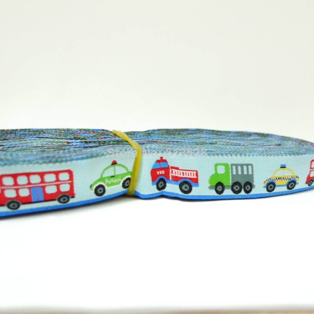 5/8'' 16mm Wide Bus Fire Truck Police Car Light Blue tone Woven Jacquard Ribbon Free shipping via DHL EXPRESS(China (Mainland))