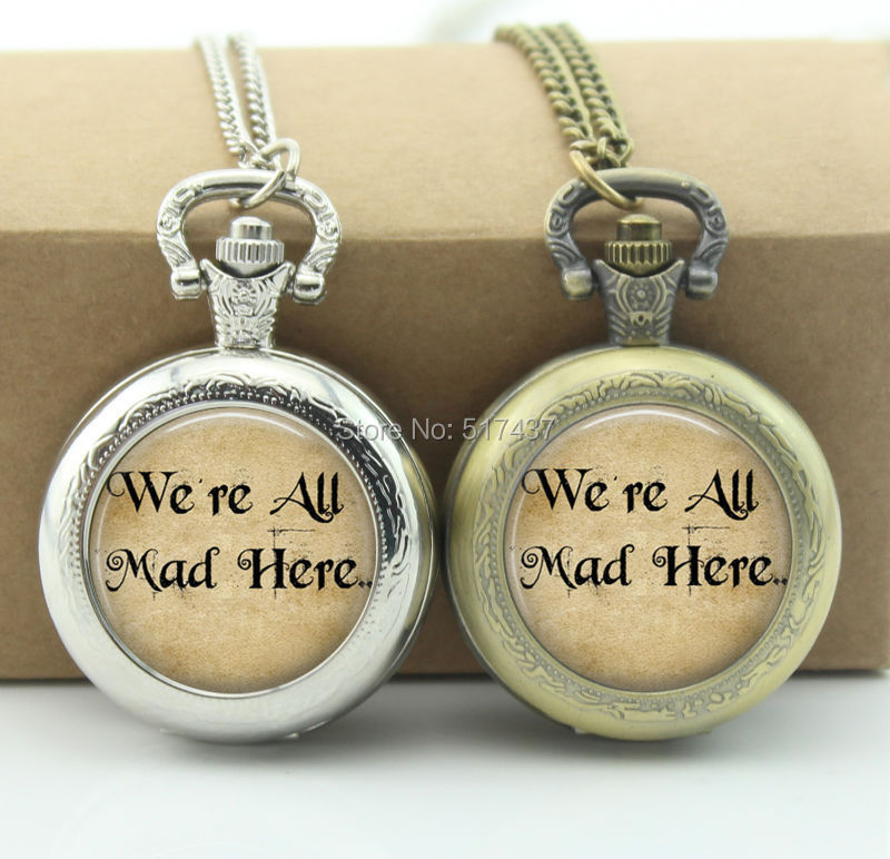 Alice In Wonderland Pocket Watch We are all mad here Jewelry Glass Locket Necklace Vintage Pocket Watch Necklace(China (Mainland))