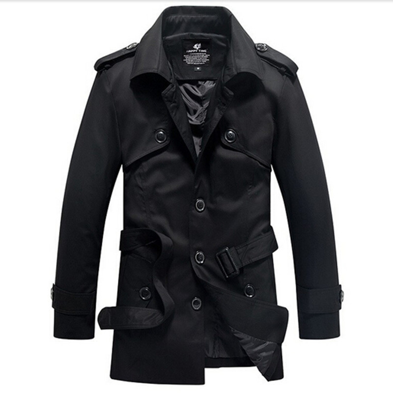 XS-XXXL 2015 men's boutique autumn slim fit single breasted trench coat/Men of high-grade pure cotton long coat(China (Mainland))