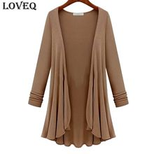New 2015 Autumn Spring Fashion Women Casual Flounce Hemline Solid Color Loose Coat Plus Size(China (Mainland))