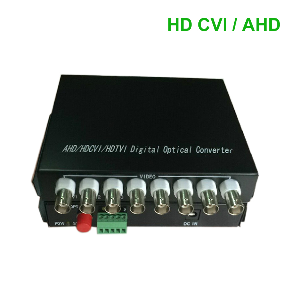 HD CVI 8 Channel Video/RS485 data optical Media Converter Transmitter Receiver -1Pair for 720P 960P AHD CVI HD cameras CCTV(China (Mainland))