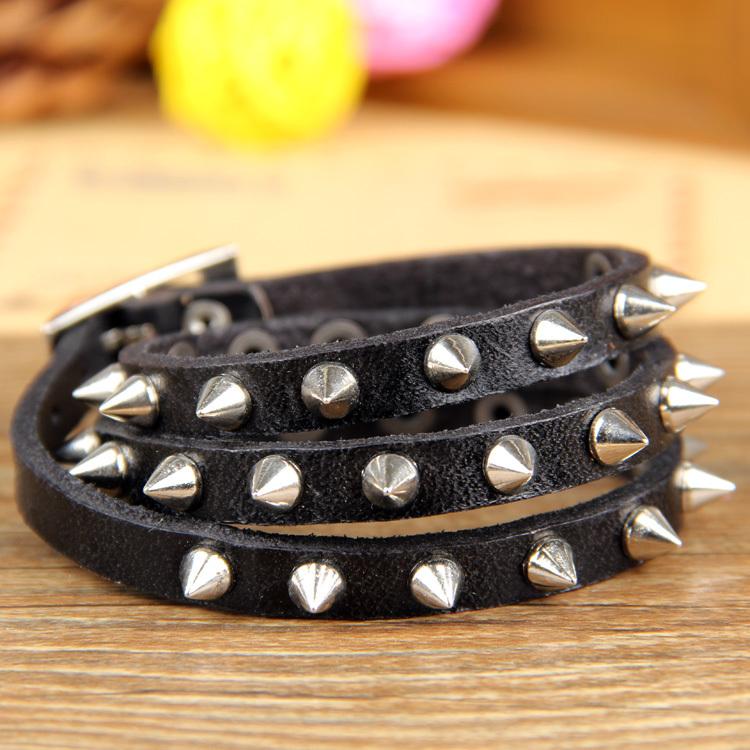 Cool Rock Men Woman Genuine Leather Sharp Studs Wrap Bracelet Bracelets Free Shipping(China (Mainland))