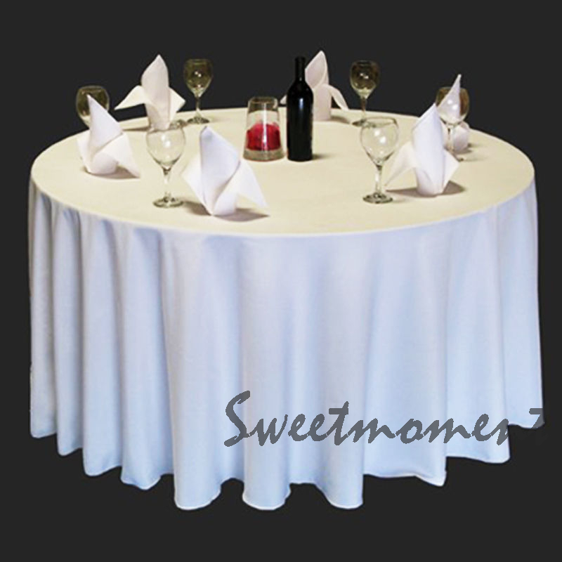5 cheap 100% Polyester White Table cloth in 300cm Round Good Quality Tablecloths for Wedding Sturdy Table cover(China (Mainland))