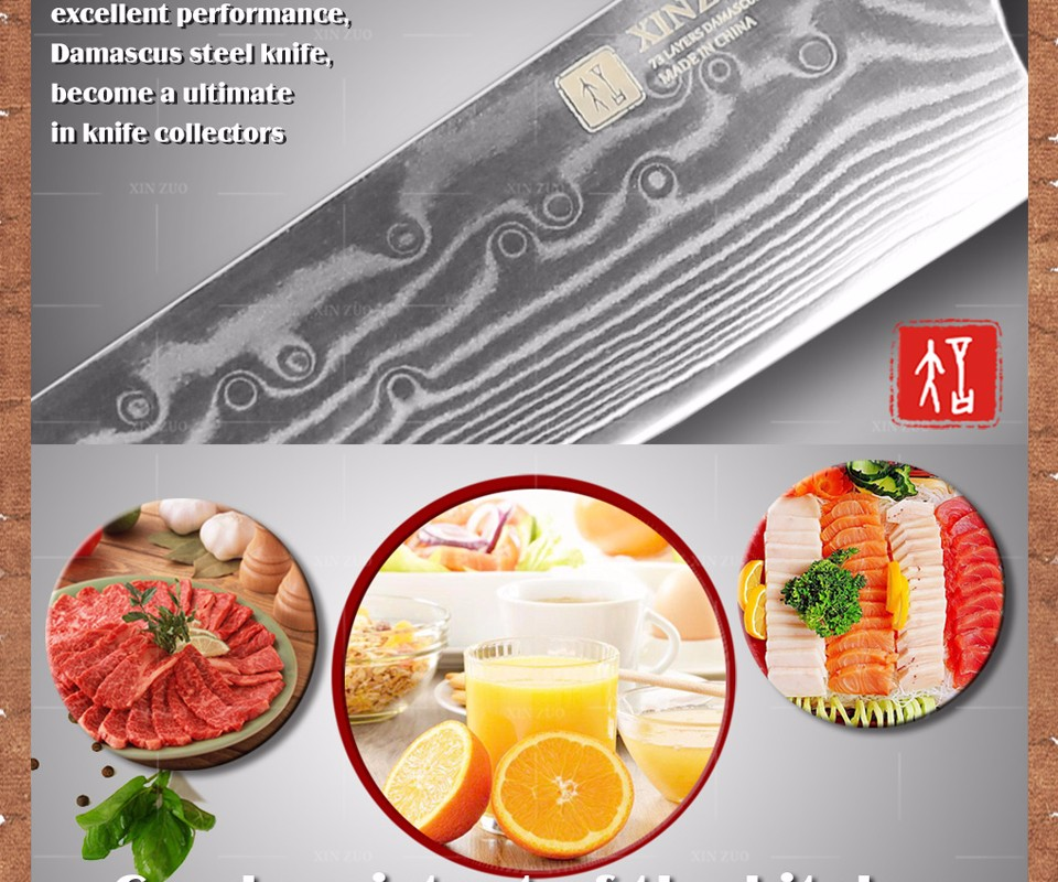 Buy XINZUO 2 pcs kitchen knives set Damascus kitchen knife Japanese chef knife fruit knife kitchen tool wood handle free shipping cheap