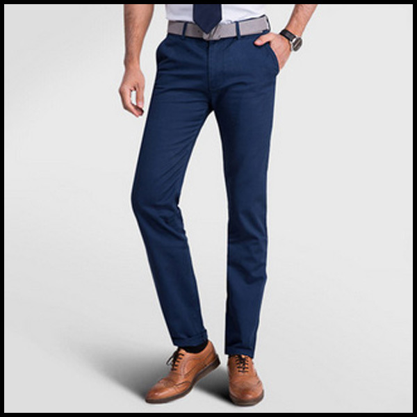 Menu0026#39;s Pants Brand Causal Formal Light Blue Cotton Polyester Menu0026#39;s Capri Pants For Work FT 378-in ...