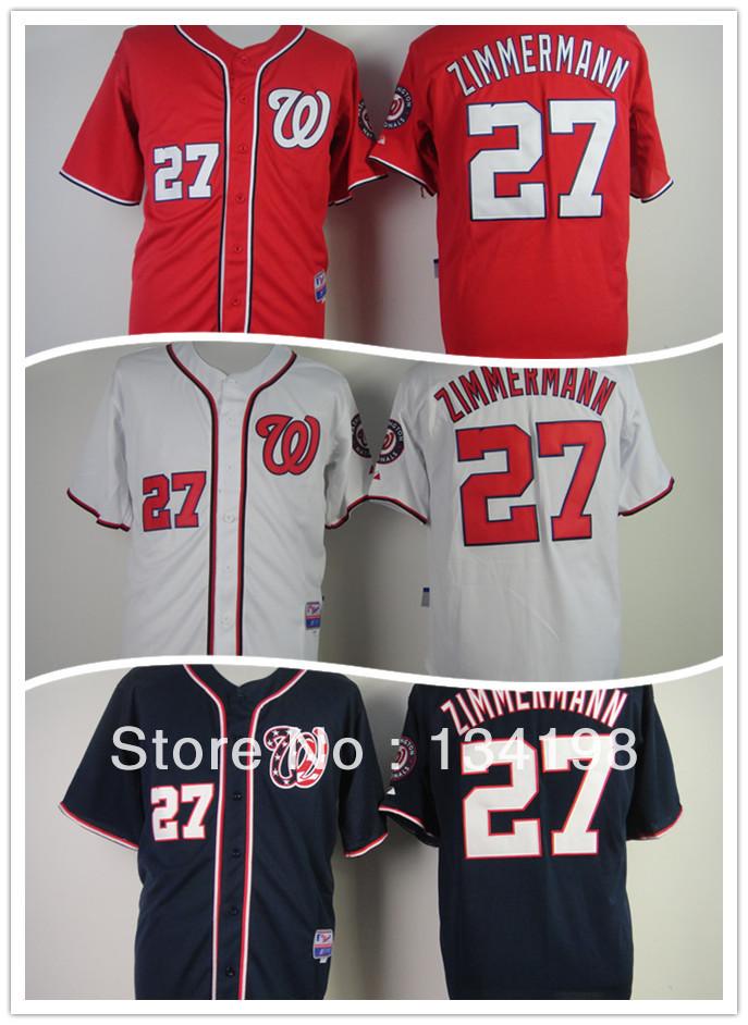 Free Shipping Washington Nationals #27 Jordan Zimmermann black/white/red base jersey ,men's Jersey,high quality,can mix order(China (Mainland))