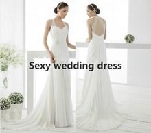 fashion trend Beach style Halter Chiffon Open back white / ivory floor length wedding dress 2015 hot pop sell ladies dresses(China (Mainland))