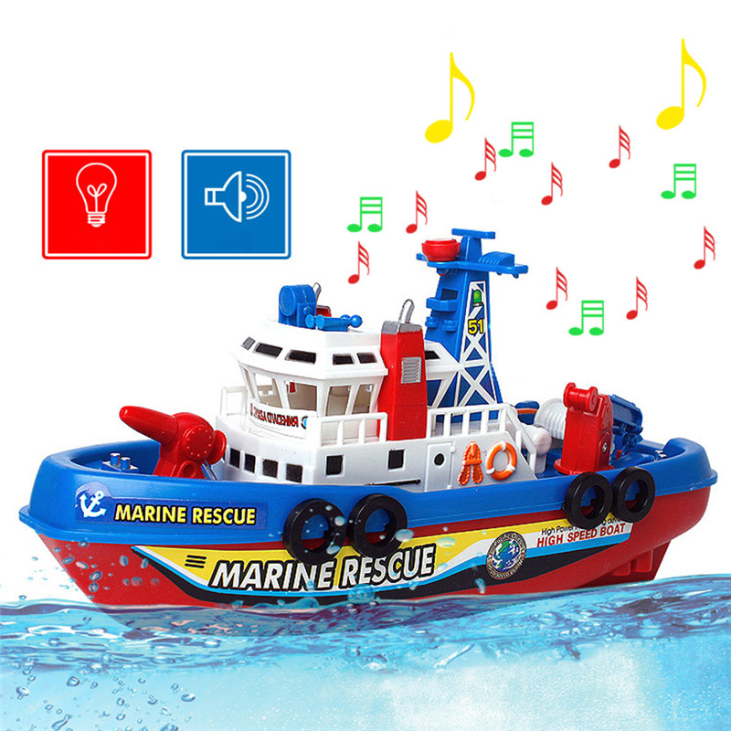 New Funny Fire Boat Electric Boat Children Electric Toy Navigation Non-remote Warship FCI#(China (Mainland))