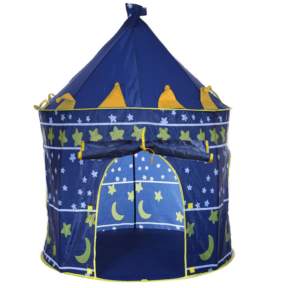 2 Colors Portable Foldable Play Tent Prince Folding Tent Kids Children Boy Castle Cubby Play House Kids Gifts Outdoor Toy Tents(China (Mainland))