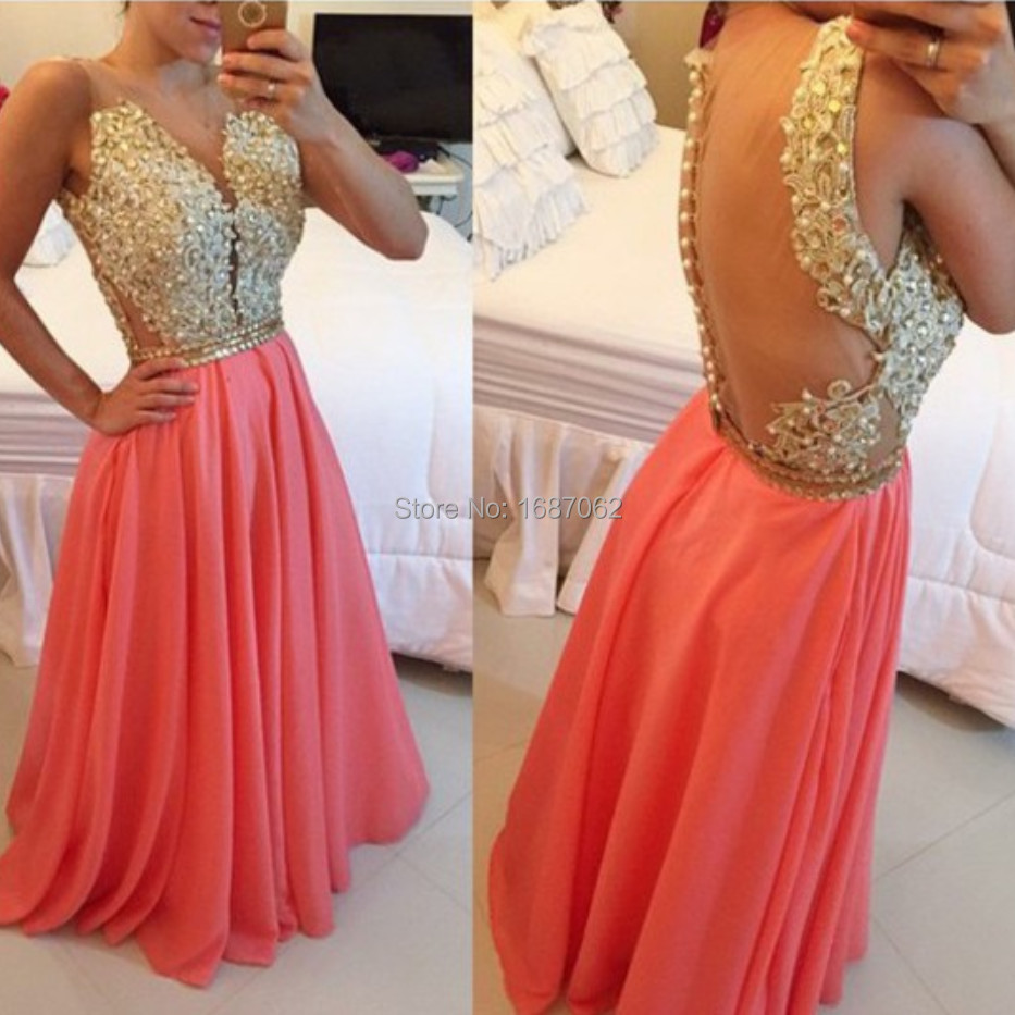 Custom Made Long Gold Lace Coral 2016 Prom Dress Party Dress Womens Elegant Evening Formal Gown Sheer Pageant Gown abendkleider(China (Mainland))