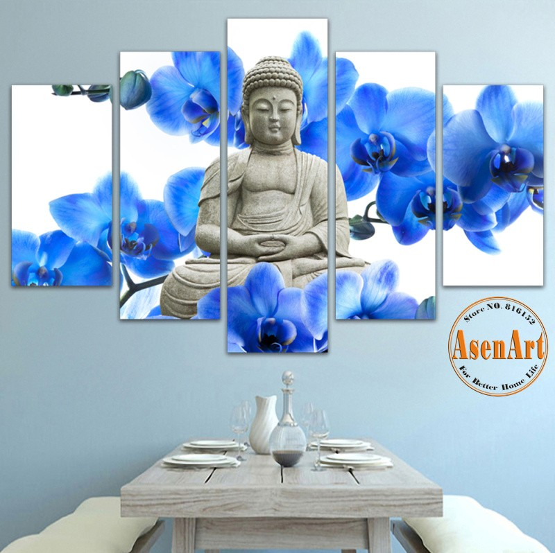 5 Piece Canvas Art Blue Flower Buddha Wall Art Canvas Prints Wall Picture Painting Panels Home Decoration Unframed(China (Mainland))