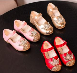 Girls leather flat shoes spring 2016 female baby loafers diamond single princess wedding shoes chaussure enfant fille nino 459b<br><br>Aliexpress