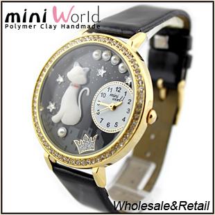 mini world brand wholesale Polymer Clay Gift lady wrist Watch DIY cat mini world factory(China (Mainland))